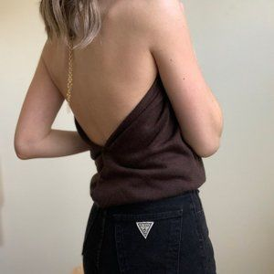 Vintage Tops - Chestnut Backless Button Up Knit